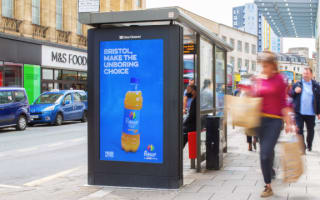 Rubicon drink displayed digital screen near M&S with Bristol call out