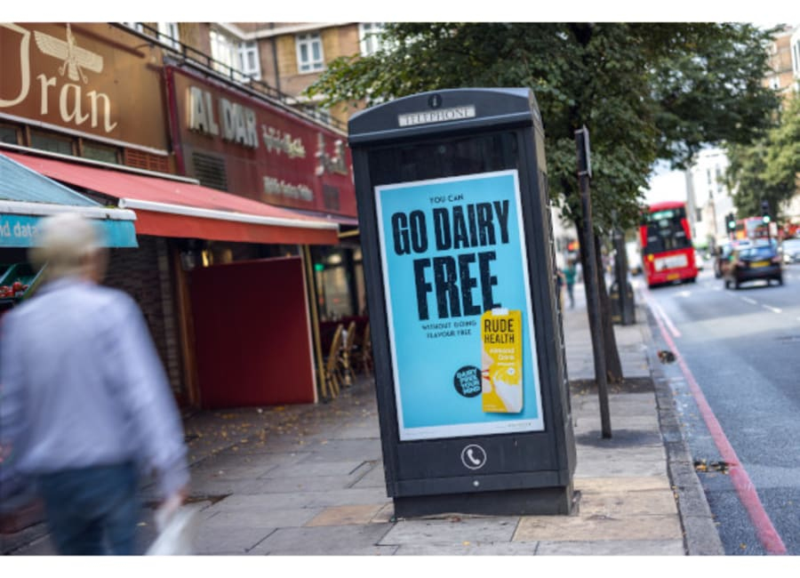Go Dairy Free Rude Health ad with product shot on digital 6-sheet