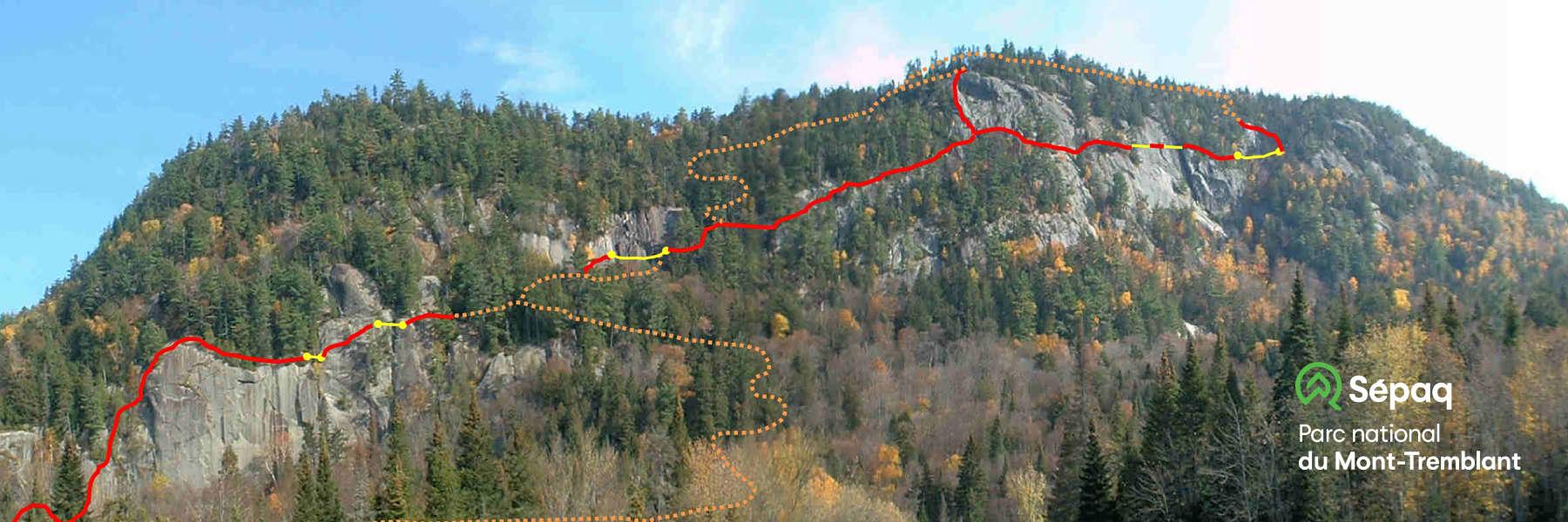 Plan du parcours de via ferrata du Parc national du Mont-Tremblant