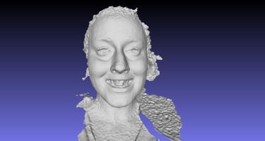 A 3D image of a woman's face .