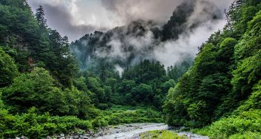 Foggy peaks of the Hida Mountains . Credit: Christopher Spencer