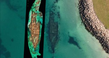 Omeo 3D model compared to Google Earth image of wreck at Coogee . Credit: Kevin Edwards (MAAWA)