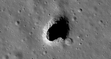 The Mare Ingenii pit, a giant lunar skylight . Credit: NASA/Goddard/Arizona State University