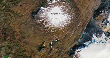 Okjokull in 1986 … . Credit: NASA Earth Observatory