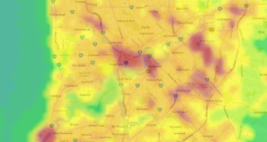 Within the city, there are still some dark areas to be found… . Credit: lightpollutionmap.info