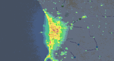 …but if you can get out of the city, viewing conditions are much better. . Credit: lightpollutionmap.info