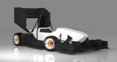 A render of the current design, with its aerodynamic coverings on … . Credit: ECU Racing