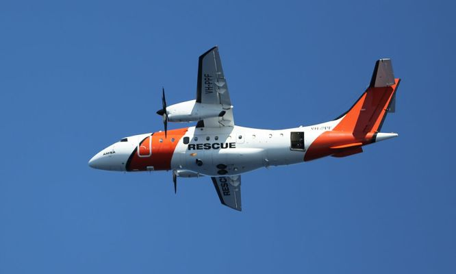 An AMSA Dornier 328 Search and Rescue plane