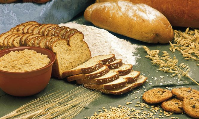 Products made from wheat flour, like bread, contain gluten