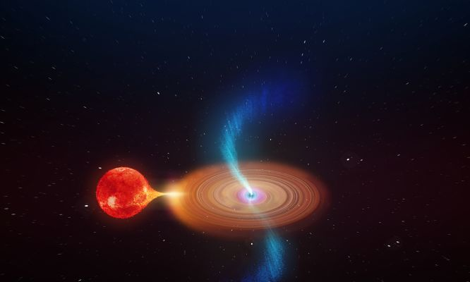 Wonky black hole seen firing off plasma