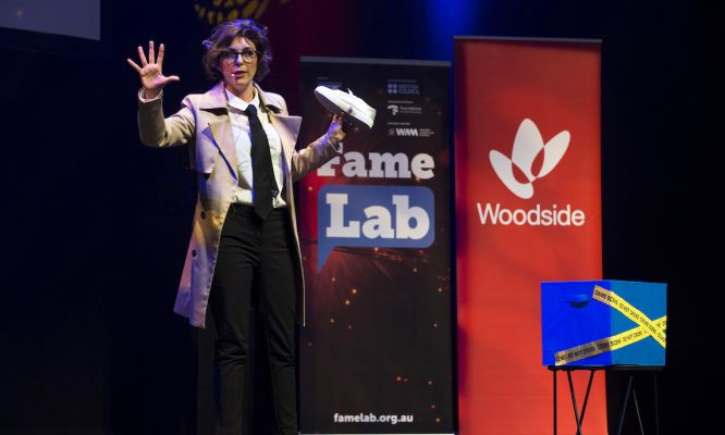 Dr Paola Magni presenting at the FameLab national final