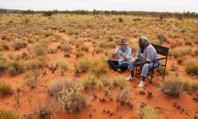 Bush Heritage ecologist Dr Vanessa Westcott and senior Birriliburu ranger and Martu Elder Rita Cutter on country at Birriliburu