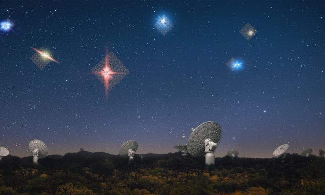 An artist's impression of fast radio bursts in the sky above CSIRO's ASKAP radio telescope at the Murchison radio-astronomy Observatory.