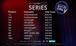 PP LIVE Series Main Event Chip Count