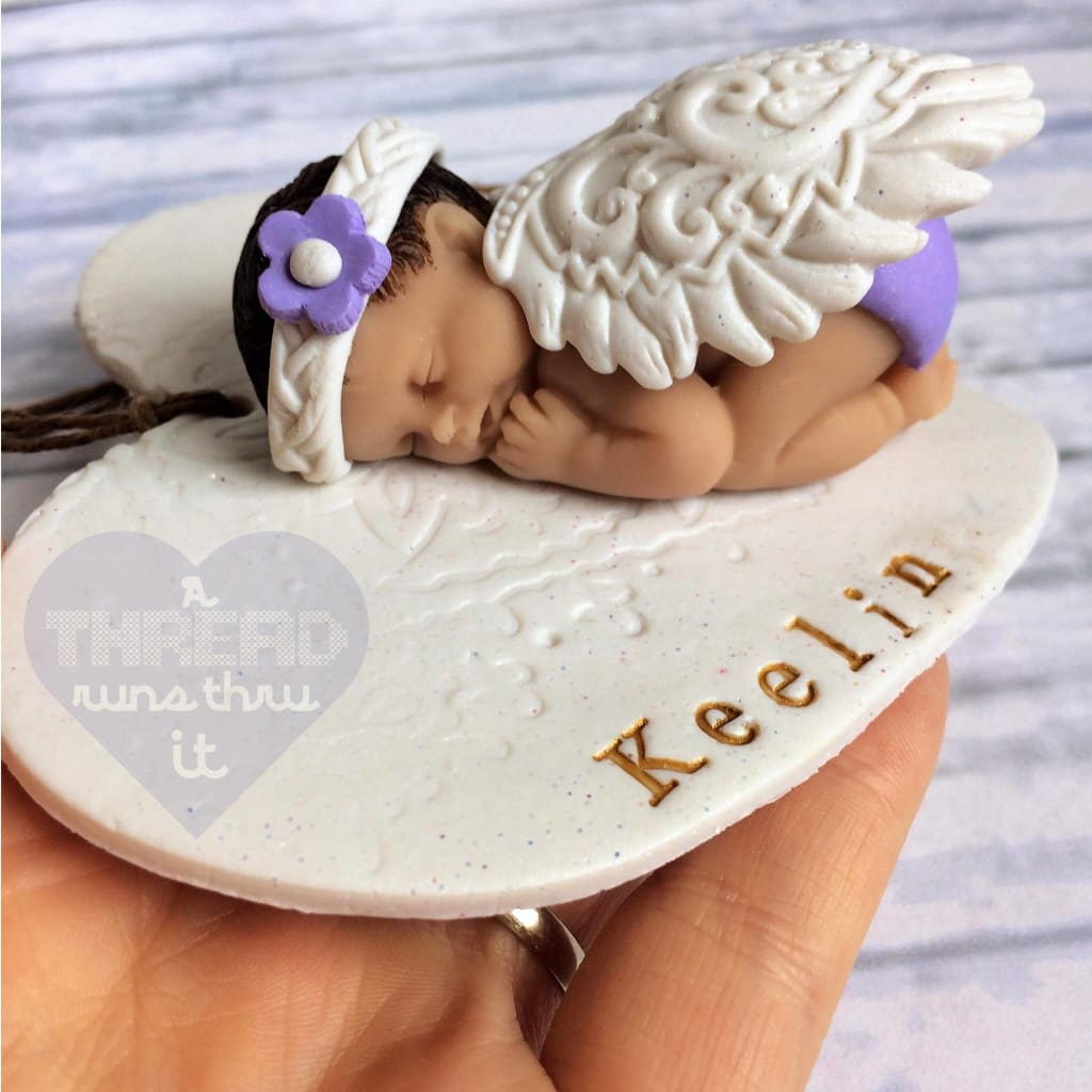Angel baby keepsake with purple headband #infantloss #SIDS #keepsake