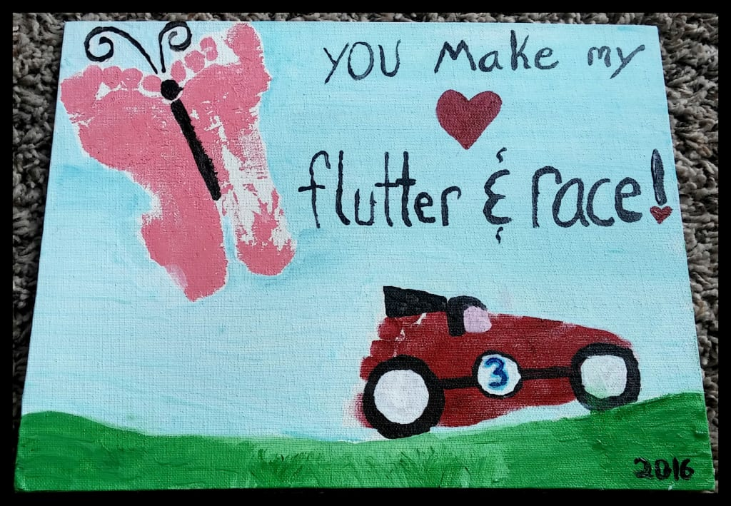 You Make My Heart Flutter & Race Toddler Foot Picture