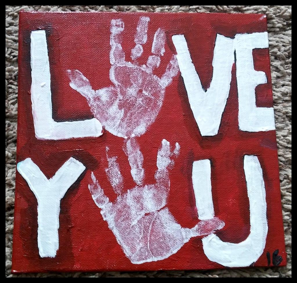 Toddler Love You Handprint Art