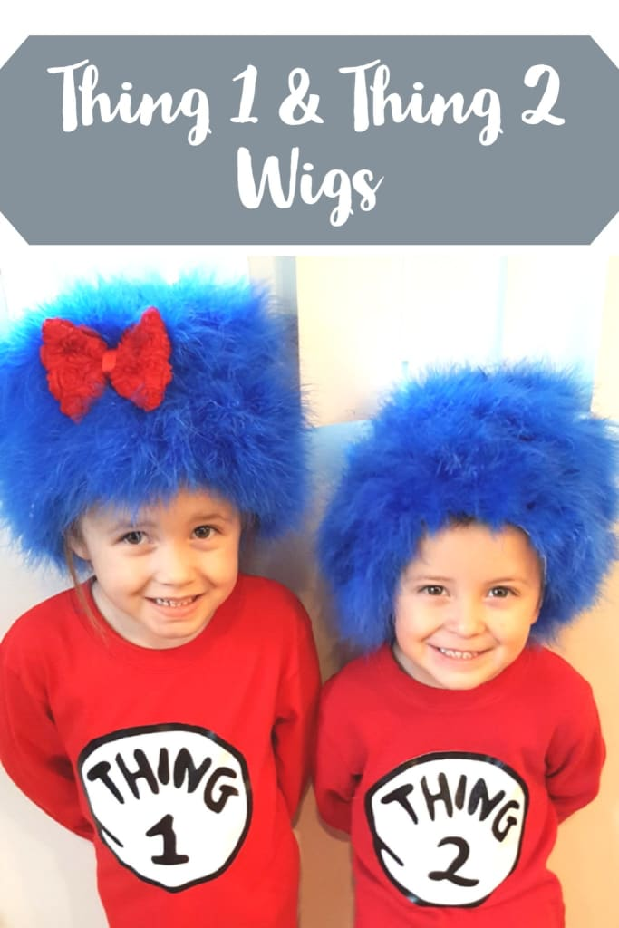 DIY Thing 1 and Thing 2 wigs are easy to make. Watch my video to see what I used to make these cute wigs my kids loved! We love Dr. Suess of course.