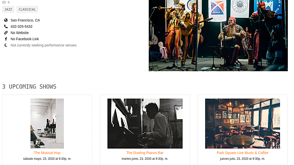Flask: Musical venue and artist booking- Featured Shot