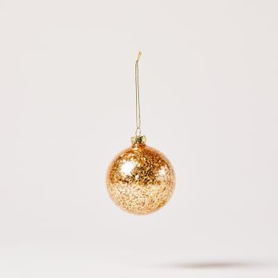 Gold Confetti Glass Bauble