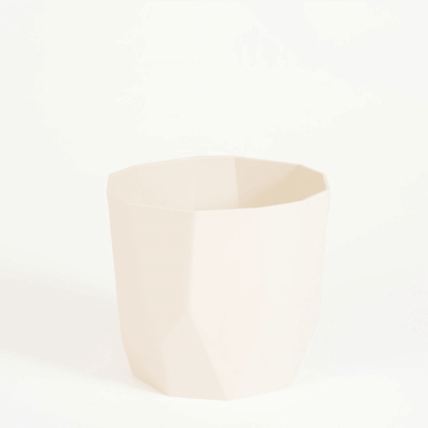 White jagged edge plastic plant pot