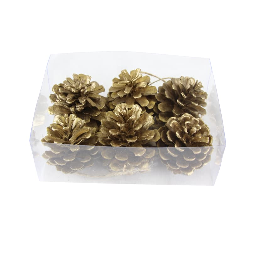 Gold hanging pine cone bauble Christmas decoration