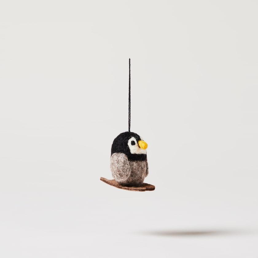 Felt Skiing Penguin
