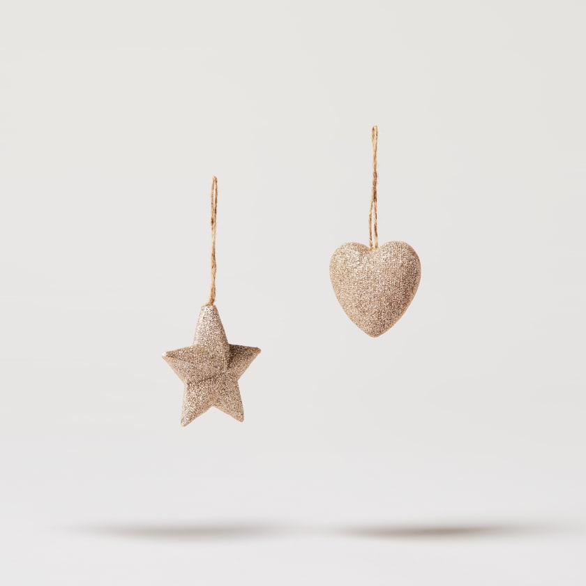 gold resin heart and star