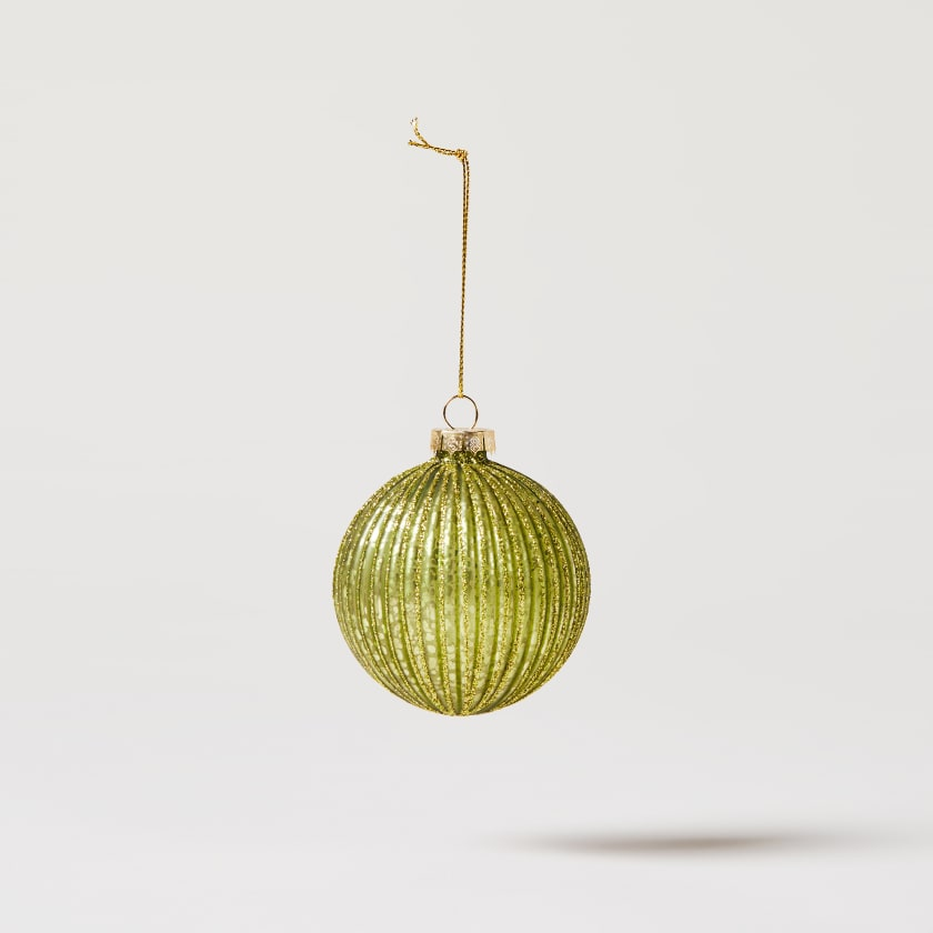 green ribbed bauble