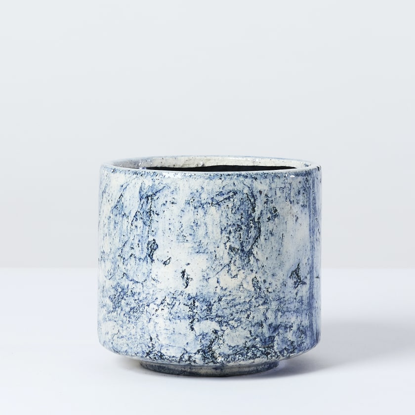 Blue Fractured Pot