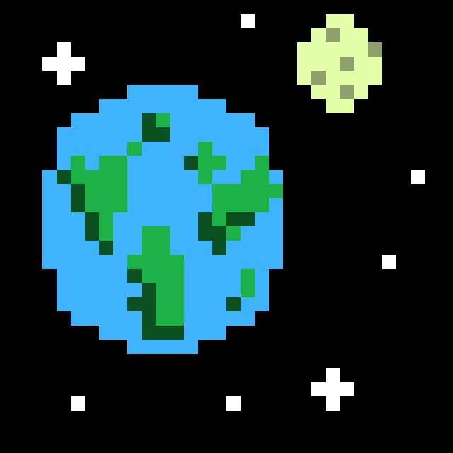 Earth and Moon Pixel Art