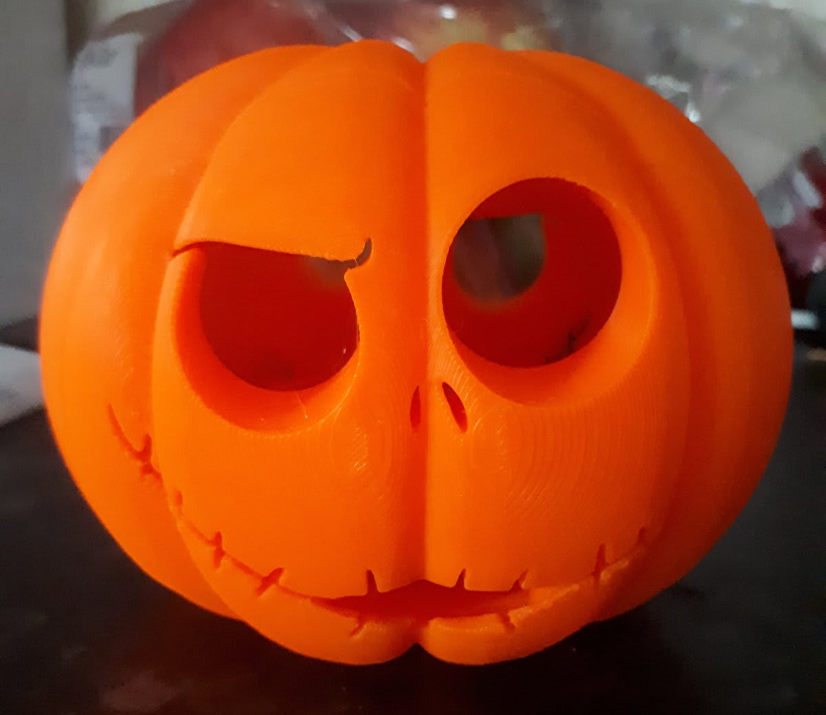 Jack Skellington Jack-o-lantern made on a 3d printer