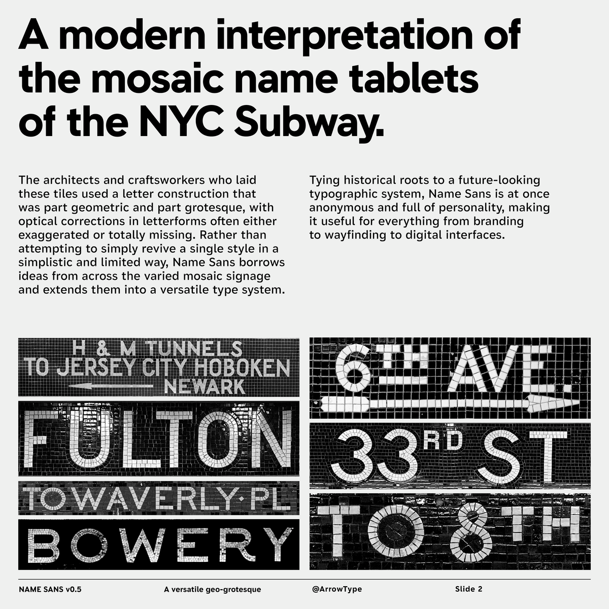 A photograph of the old mosaic name tablets from the NY Subway, one says 6th Ave and another Fulton