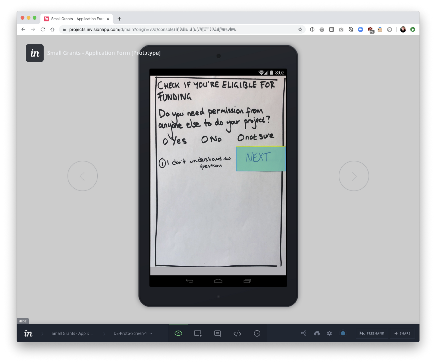 Screen shot of our paper sketches being used with Invision