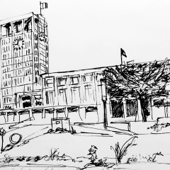 Pen sketch of Hôtel de ville du Havre