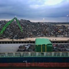 Piles of scrap metal on Newhaven dock