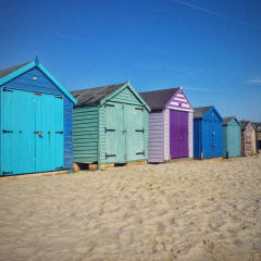 Eight beach huts painted various colours.