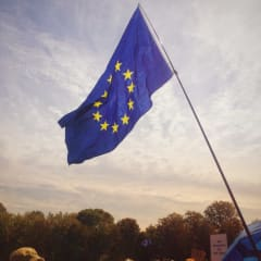 A European Union flag at a rally against the prorogation of Parliament.