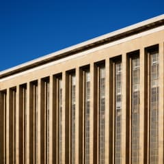 Long slit windows of Tempelhof's departure and arrival hall.
