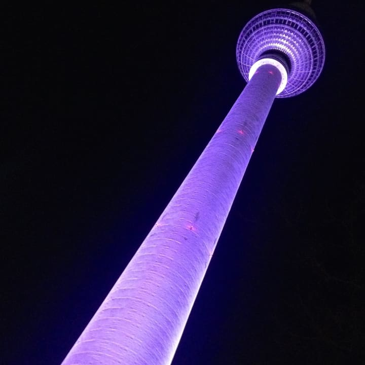 Berlin Fernsehturm (Television Tower) at night