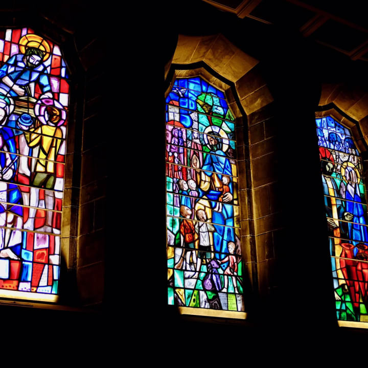 Illuminated stained glass in Galway Cathedral