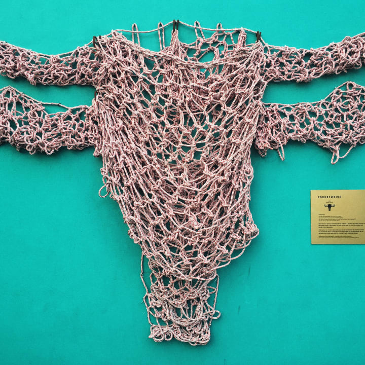 'Endurfæðing', a sculpture hung from a green wall and made of fish nets
