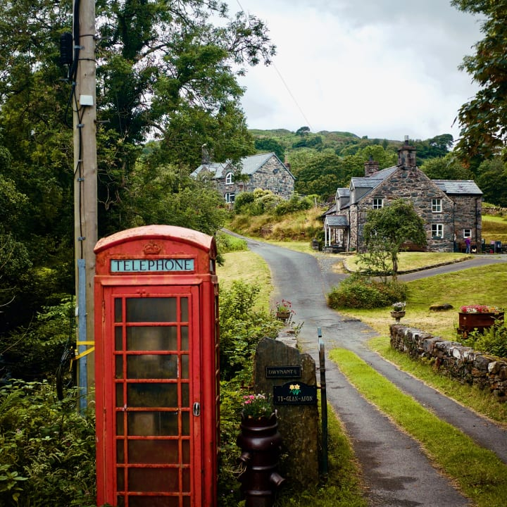 Red telephone box outside Ty Glan Afon holiday cottage.