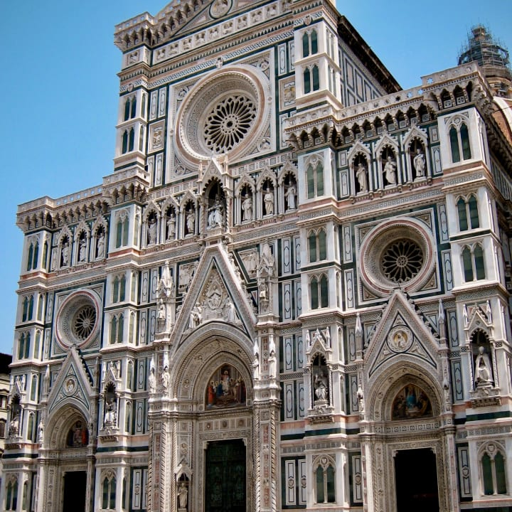 Highly decorated entrance to Florence Cathedral.