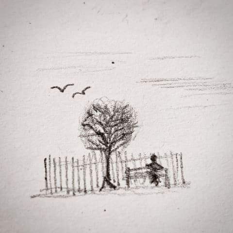 Tiny pencil sketch of a person sat on a bench by a tree.