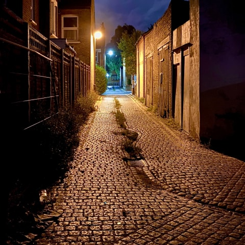 Back street at night.