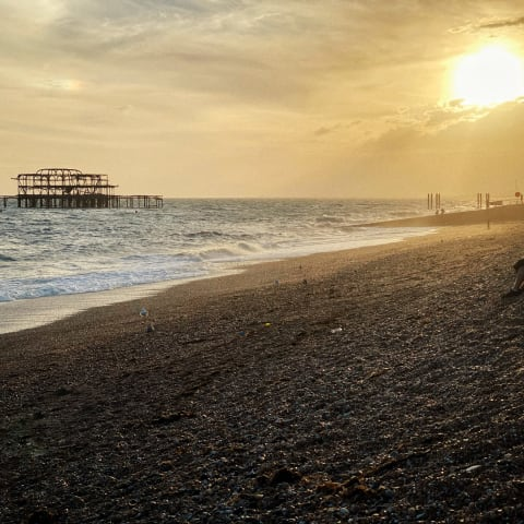 Brighton's West Pier at sunset.