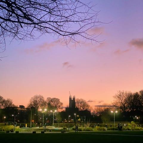 Sunset over the Level Skate Park.