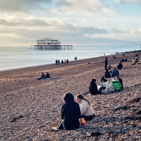Looking across Brighton beach towards the West Pier.