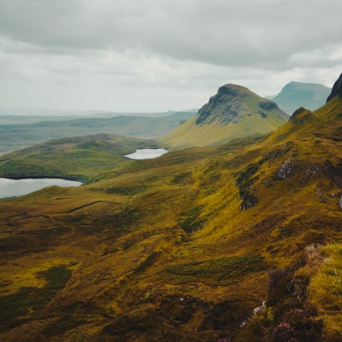 View of lush mountain and hillside from the Quiraing landslip.